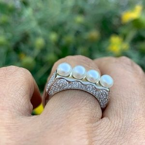 Sterling Silver Pearl Engagement Ring Wedding Band
